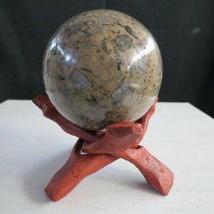 Crynoid-Fossil-Sphere-3-034-77mm-10-8oz-306gm-gemstone-ball-Michigan-USA-old-rock