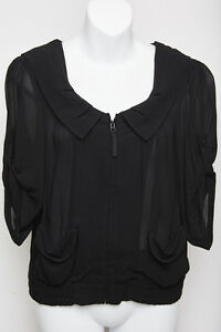 Cue-Womens-Zip-Jacket-Top-with-Hoodie-Black-Size-AUS-6