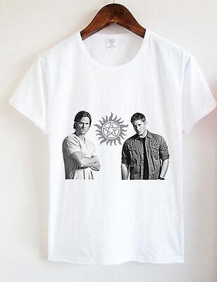 M - L -XL-Cotton Handmade Women's T-Shirt - Supernatural Dean and Sam Winchester
