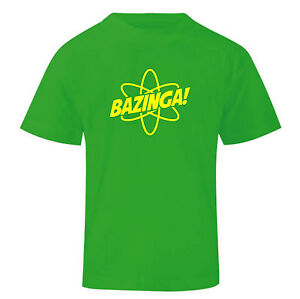 Art T-shirt, Maglietta Bazinga Big Bang Theory, Bambino Boy, Verde Pure Blancheur