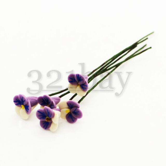1//12 SCALE DOLLHOUSE MINIATURE WHITE CLAY COLLA FLOWER BOUQUET GARDEN DECOR