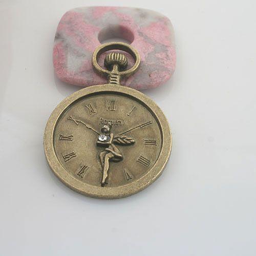 1pcs antiqued bronze color rhinestone clock design pendant charm G1882
