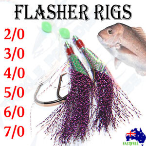 10 Snapper Rigs Fishing Tackle SupaLumo 6//0 60lb Octpus Circle Hooks Flasher