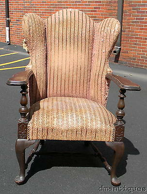 Antique Victorian Solid Carved Mahogany Queen Anne Upholstered Wing Arm Chair