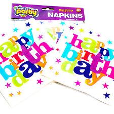Happy Birthday napkins, packs of 20 paper napkins printed with 'Happy Birthday'