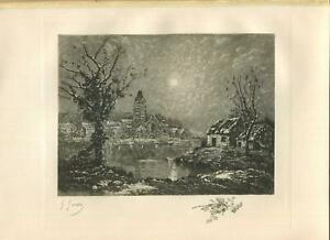 ANTIQUE VICTORIAN CHRISTMAS EVE SNOW NIGHT EURE RIVER VILLAGE P/S ETCHING PRINT