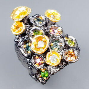 Vintage-Natural-Tourmaline-925-Sterling-Silver-Ring-Size-8-5-R119629