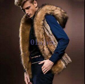 Men-Winter-Warm-Faux-Fur-Outerwear-Hooded-Vest-Jacket-Coat-Waistcoat-Tops