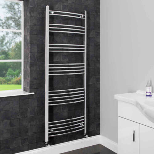 Modern Bathroom 1600 x 600mm Heated Towel Rail Radiator Curved Chrome 22 Rails