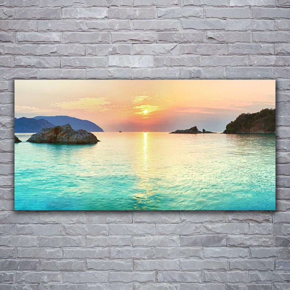 - Tela Immagini Immagine Parete Tela Stampa d'Arte 120x60 sole mare rocce PAESAGGIO
