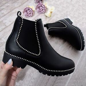 8bb5864fa513a Womens Ladies Chunky Heel Ankle Boot Chelsea Studded Biker Black Gem ...