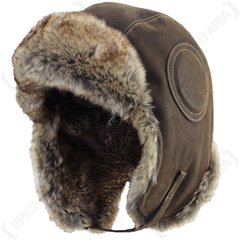 Airman Leather Ushanka - Winter Russian Hat Ski Fur Pilot Military Army New