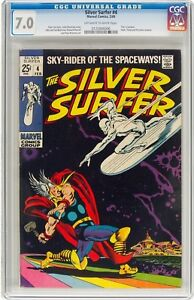 The-Silver-Surfer-4-Marvel-1969-CGC-FN-VF-7-0-Off-white-to-white-pages-Thor