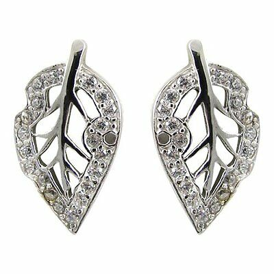 Open Teardrop Leaf Filigree White CZs Sterling Silver Drop Post Stud Earrings