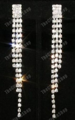 "CLIP ON screw 3.5"" long 9cm RHINESTONE CRYSTAL drop EARRINGS diamante silver pl"