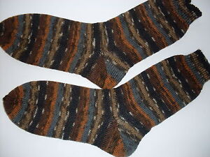 Selbstgestrickte-Socken-Gr-36-47-Neu-Handarbeit-Braun