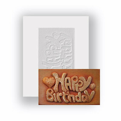 Food Safe Silicone Mould - Happy Birthday And Hearts - Mini Chocolate Bar Mould