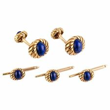 Tiffany & Co. Schlumberger Blue Lapis 18K Gold Cufflinks and Studs Set