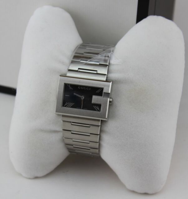 NEW AUTHENTIC GUCCI G RECTANGLE SILVER BLACK WOMEN'S YA100505 WATCH