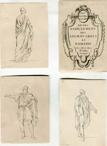 Edition-Original-Four-Lithographs-Of-Divers-Habillemens-Des-Anciens-Grecs-Et-R