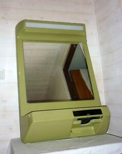 GéNéReuse 1970 Space Age Miroir Ufo Vert Lumineux Et Radio Intégré Fibre Et Résine Mirror Exquis (En) Finition