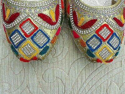 Oro Multi Color Para Damas Indio Boda Fiesta Khussa tamaño del zapato 7