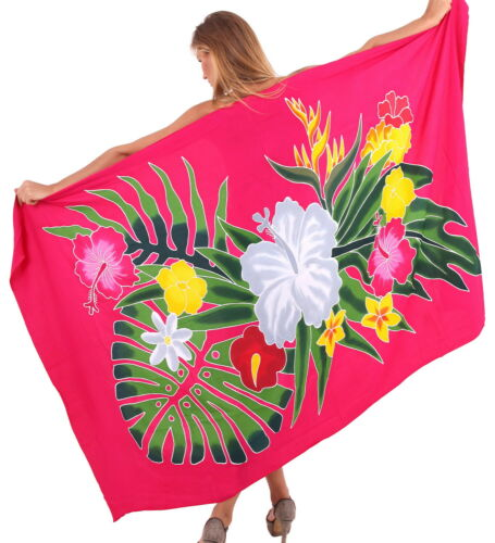 "LA LEELA Women/'s Swim Cover Up Beach Wrap Skirt Hawaii Sarongs 78/""x43/"" Pink/_U803"