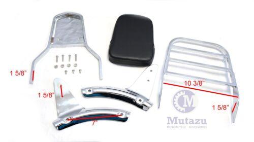 Mutazu Chrome Sissy Bar Backrest w// Luggage Rack,Honda Shadow Aero 1100
