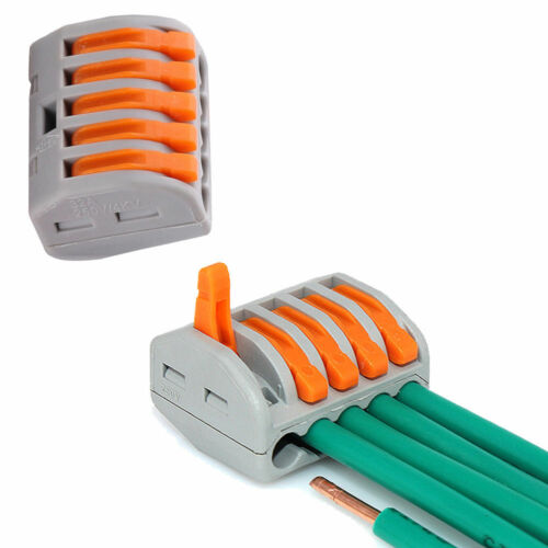 10x REUSABLE SPRING LEVER TERMINAL BLOCK ELECTRIC CABLE WIRE CONNECTOR 5 WAYR df
