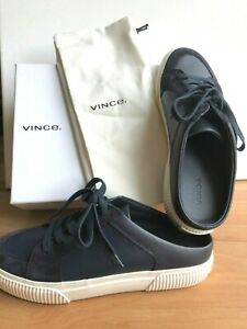 195-New-Vince-Kess-Coastal-Slip-on-Sneakers-Navy-Blue-Leather-Lace-up-Sz-8