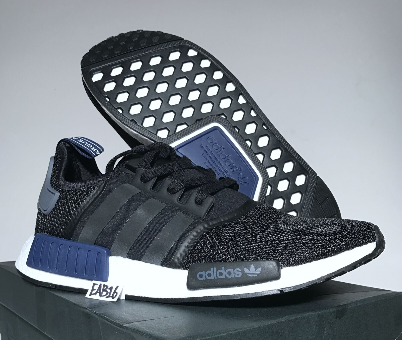 Adidas Originals NMD_R1 Core Black Sports Navy Blue White S76841 Size Jd