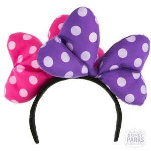 Disney Parks Minnie Mouse Double Large Bow Headband Hat Ears Pink ... 977e29add971