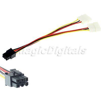 6 Pin PCI-E zu 2 x 4-Pin Y-Grafikkarte Power-Konverter-Adapter-Stecker Kabel