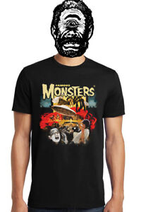 Famous-Monsters-Drive-In-Movies-Tee-100-Preshrunk-Cotton-Mens-Womens-Unisex