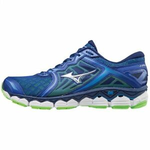 timeless design d211e 94e2c Image is loading Mizuno-Wave-Sky-Blue-White-Silver-Men-Running-