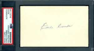 Earle-Combs-PSA-DNA-Coa-Autograph-Hand-Signed-3x5-Index-Card