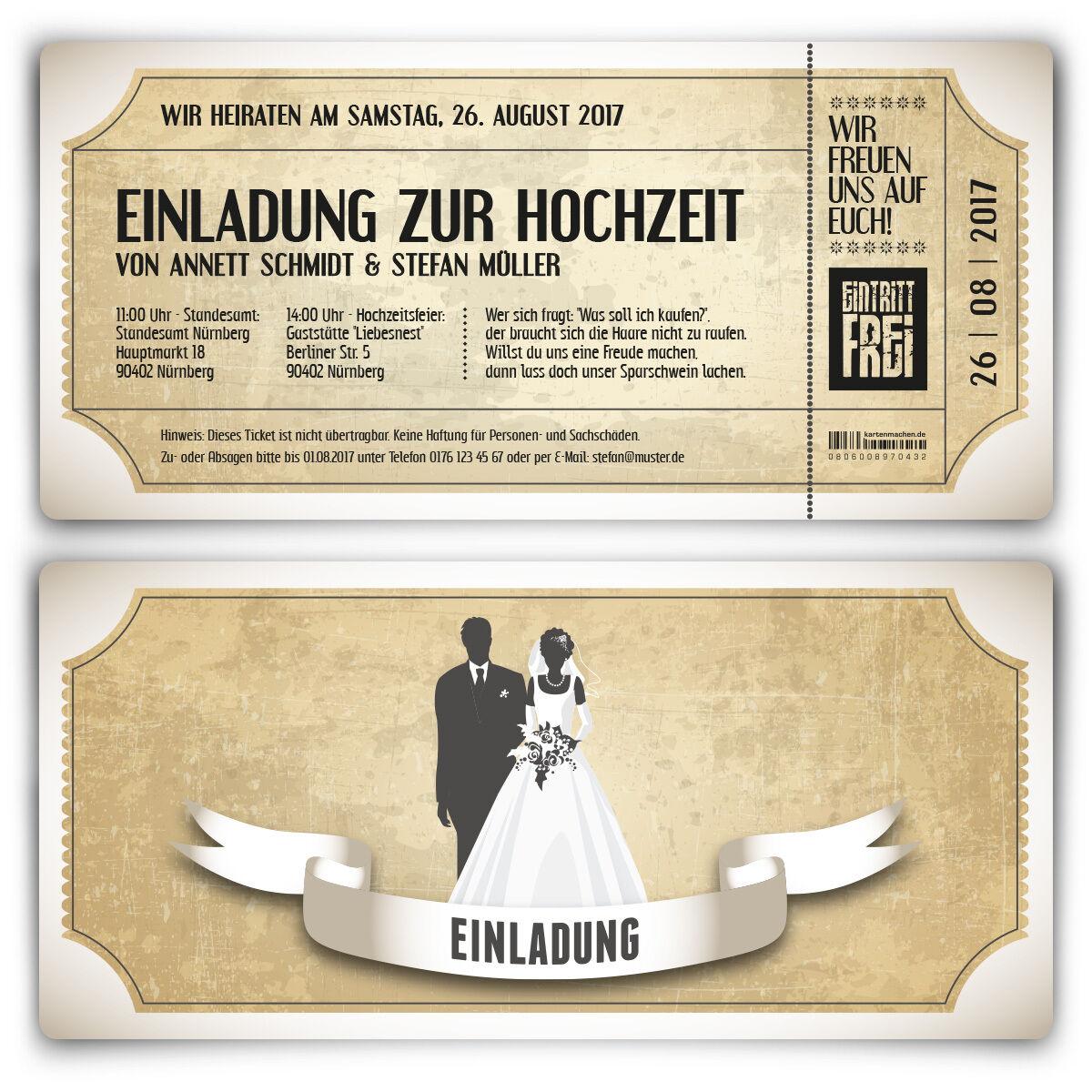 Einladungskarten zur Hochzeit - Vintage Brautpaar - Hochzeitskarten in Weiß