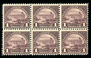 USAstamps-Unused-FVF-US-1922-1-Lincoln-Memorial-Block-Scott-571-OG-MNH