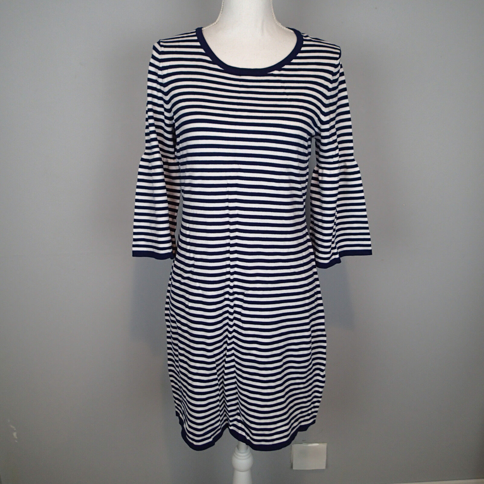 NWT Sail to Sable STS Navy & Weiß Striped Bell Sleeves Sheath Dress M    h7