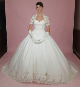 Details about ~~HQ* *Beautiful* Queen Ann Lace White Wedding Gown Dress  Plus Size 26 22,28 63w