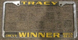 tracy winner chevrolet license plate frame embossed olds buick gmc rare ca oem ebay ebay