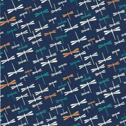 NUTEX YUKATA METALLIC DRAGONFLIES ON NAVY 100/% COTTON 80020 COL 102