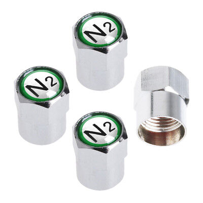 CHROME TPMS VALVE STEM CAPS N2 NITROGEN GREEN INSERT 100