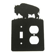 Buffalo Bison Single Rocker Cover Plate Black