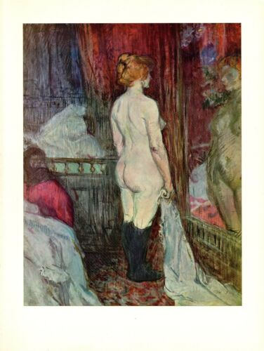 """1956 Vintage TOULOUSE /""""NUDE IN FRONT OF A MIRROR/"""" LOVELY COLOR offset Lithograph"""