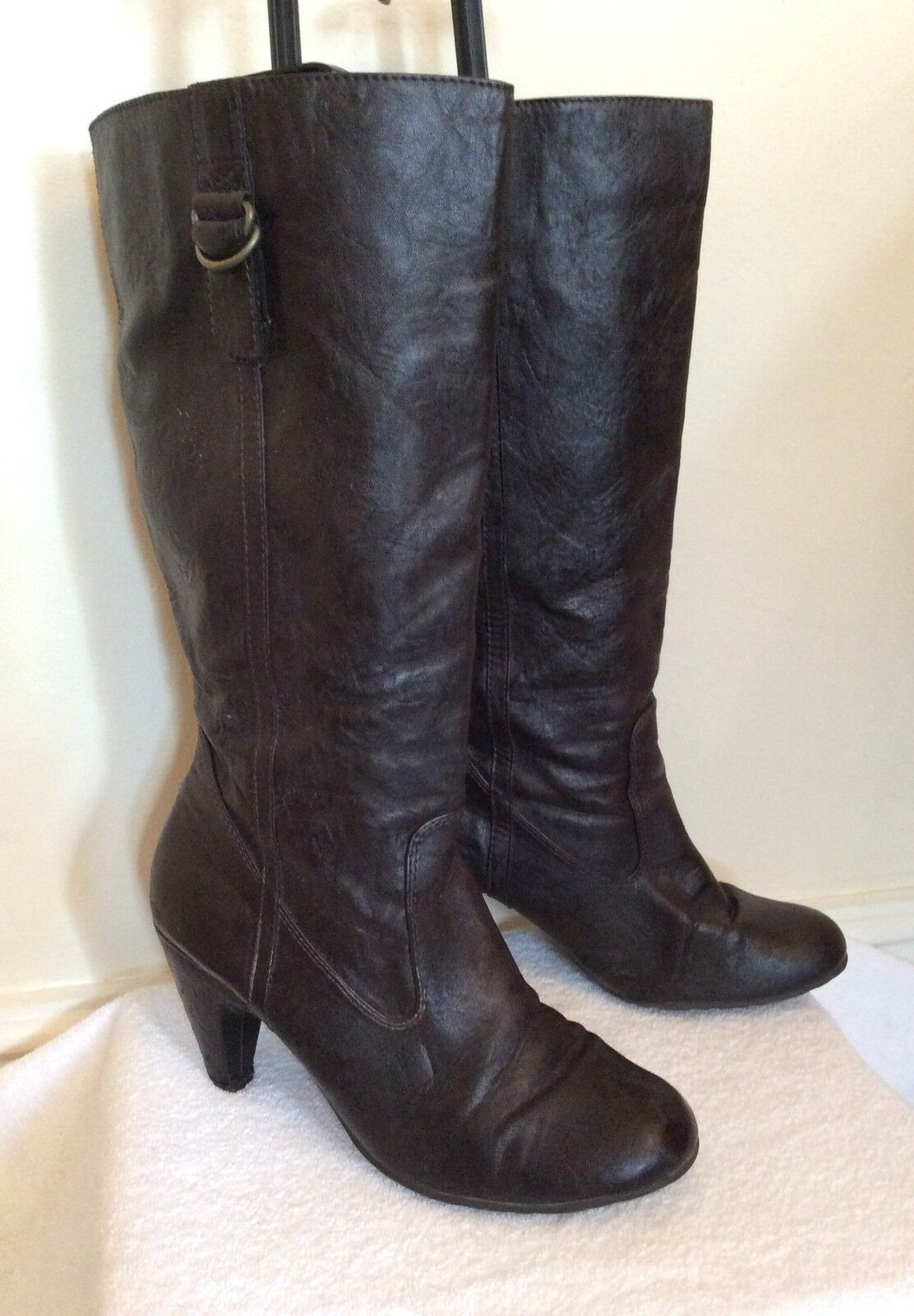 DOROTHY PERKINS DARK BROWN FAUX LEATHER BOOTS SIZE 6/39