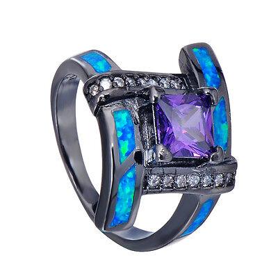 6*6MM Lab Amethyst CZ Blue Opal Cross Wedding Ring 10KT Black Gold Filled Sz 6-9