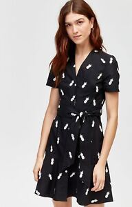 49-New-Warehouse-Black-White-Pineapple-Print-Summer-Shirt-Dress-Size-6-16
