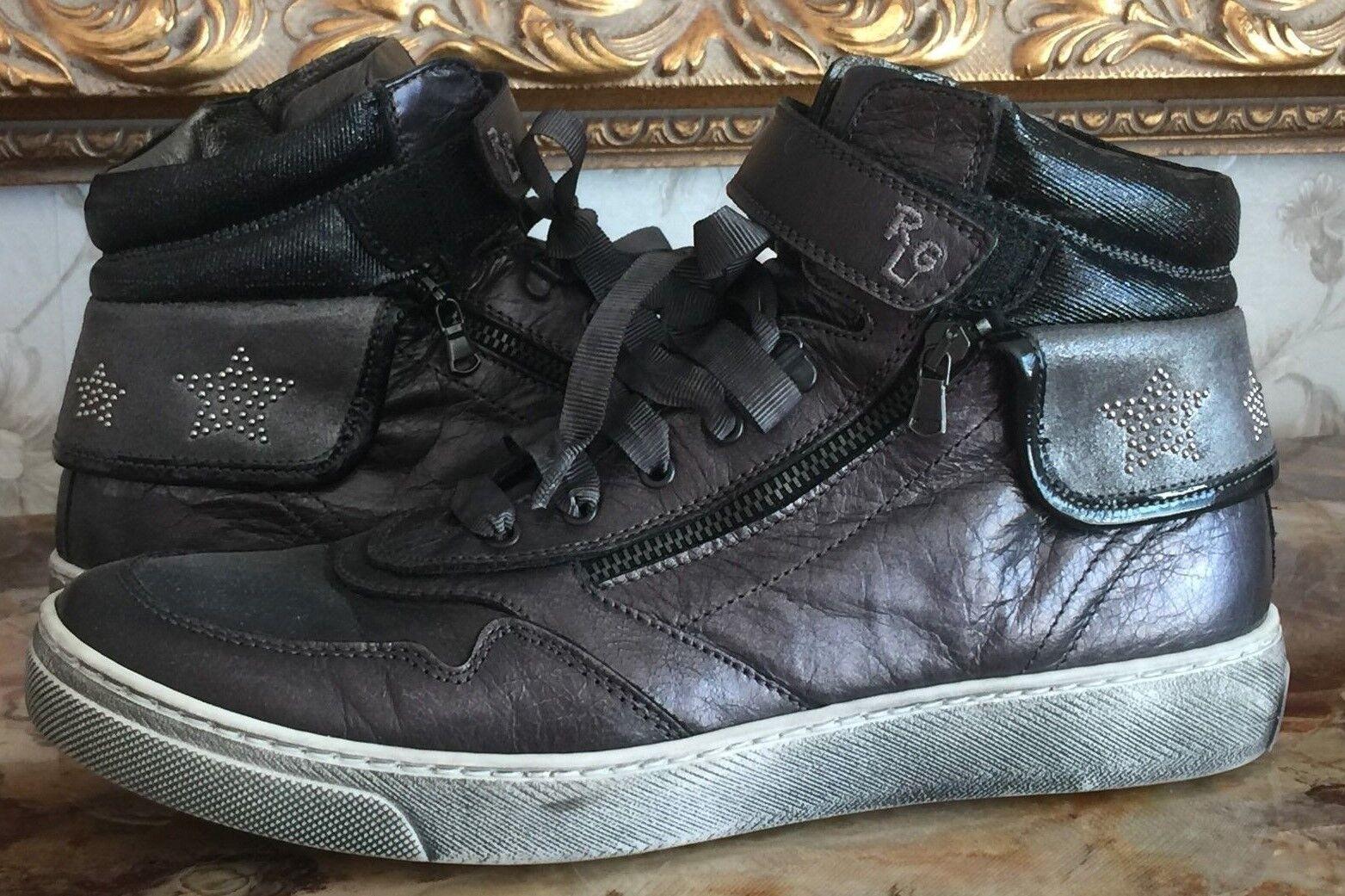 Romagnoli 1882 Negro gris gris gris Con Cordones Zapatos Tenis Cuero Cremallera   UE 39 US 8 Italia  muchas sorpresas