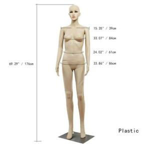 Female Mannequin Clothing Realistic Display Head Turns Dress Form w/ Base